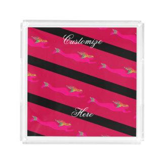 swimming pink mermaids striped acrylic tray