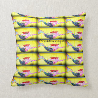 swimming pink mermaids Thunder_Cove yellow Throw Pillow