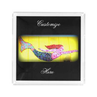 swimming pink mosaic mermaid acrylic tray