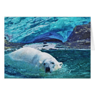 Swimming Polar Bear & Arctic Ice Art Gifts Greeting Card