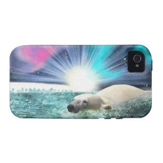 Swimming Polar Bear & Aurora iPhone 4 Case