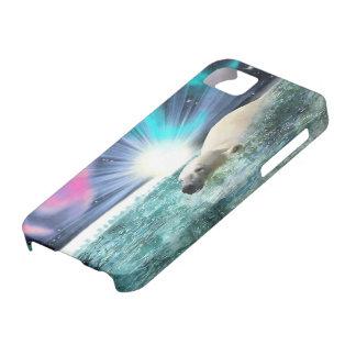 Swimming Polar Bear & Aurora iPhone 5 Case