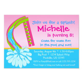 """Swimming Pool Party - Pink Water Slide Birthday 5"""" X 7"""" Invitation Card"""
