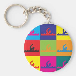 Swimming Pop Art Basic Round Button Key Ring