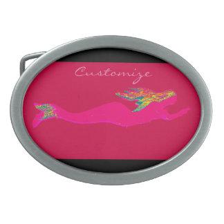 swimming rainbow-haired mermaid Thunder_Cove Belt Buckle