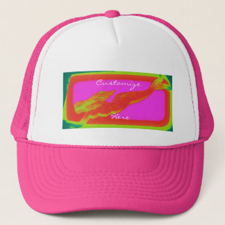 swimming red mermaid trucker hat