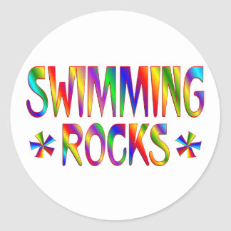 SWIMMING ROCKS CLASSIC ROUND STICKER