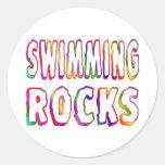 Swimming Rocks Round Sticker