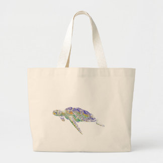 Swimming Sea Turtle Modern Art Large Tote Bag