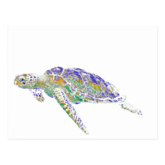 Swimming Sea Turtle Modern Art Postcard