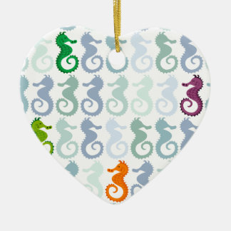 Swimming Seahorse Pattern Ceramic Heart Decoration