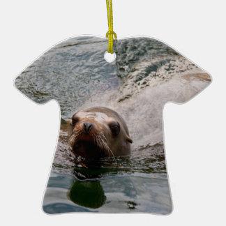 Swimming seal christmas tree ornament