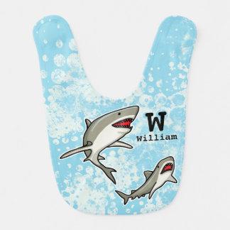 Swimming Sharks, Add Child's Name and Monogram Bib