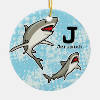 Swimming Sharks, Add Child's Name and Monogram Christmas Ornament