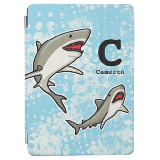 Swimming Sharks, Add Child's Name and Monogram iPad Air Cover