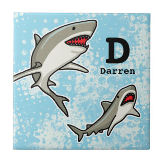 Swimming Sharks, Add Child's Name and Monogram Small Square Tile