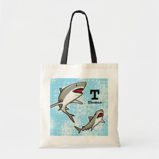 Swimming Sharks, Add Child's Name and Monogram Tote Bag