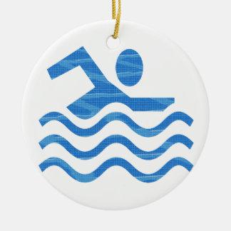 Swimming Success - Hot Times Cool Mind Round Ceramic Decoration