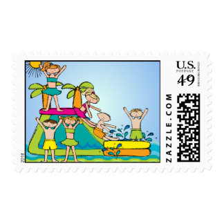 Swimming Summer Beach Pool Birthday Postage Stamps
