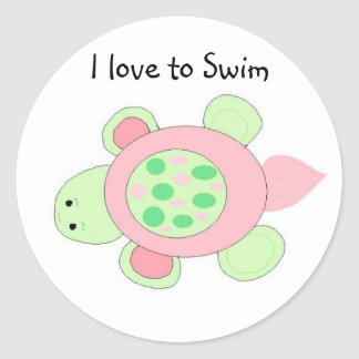 Swimming Turtle Classic Round Sticker