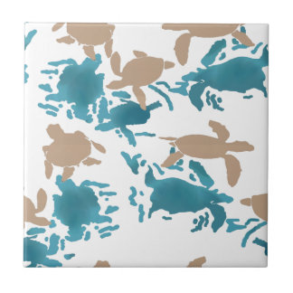 Swimming Turtle Pattern Small Square Tile