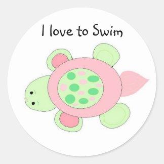 Swimming Turtle Round Sticker