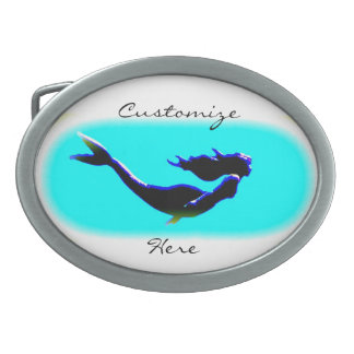 swimming underwater mermaid Thunder_Cove Oval Belt Buckles
