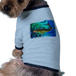 Swimming Walleye, Pickerel Fish Art Ringer Dog Shirt