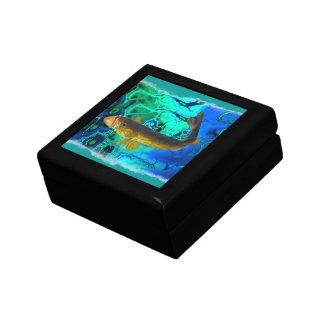 Swimming Walleye, Pickerel Fish Art Small Square Gift Box
