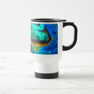 Swimming Walleye, Pickerel Fish Art Travel Mug