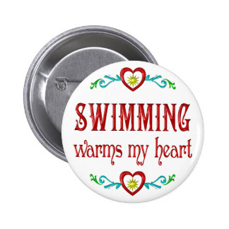 Swimming Warms My Heart Pinback Button