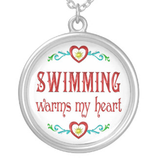 Swimming Warms My Heart Silver Plated Necklace