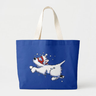 Swimming Westie Canvas Bags
