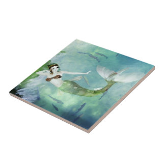 Swimming with Salmon Tile