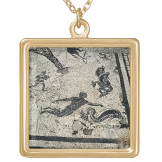Swimming with the Dolphins, from the Frigidarium o Gold Plated Necklace