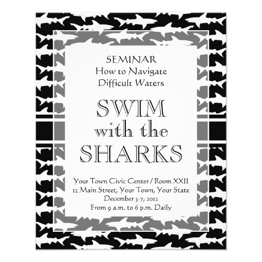 Swimming with the Sharks Funny Shark Pattern Flyers