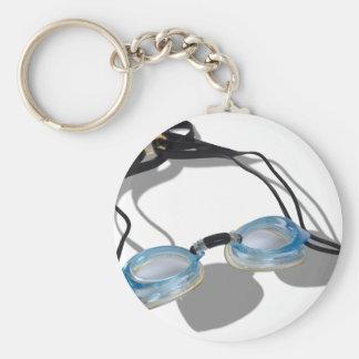 SwimmingGoggles091210 Basic Round Button Key Ring