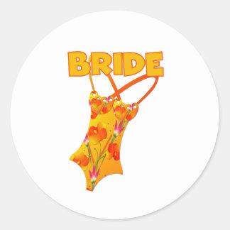 Swimsuit Bride Round Stickers