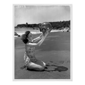 Swimsuit Girl Oregon Beach Vintage Poster