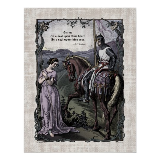 "Swinburne ""An Old Saying"" Victorian Art Poster"