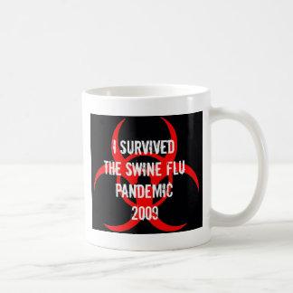 SWINE flu pandemic survivor - BLACK Basic White Mug