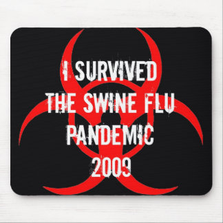 SWINE flu pandemic survivor - BLACK Mouse Mats