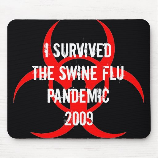SWINE flu pandemic survivor - BLACK Mouse Mats