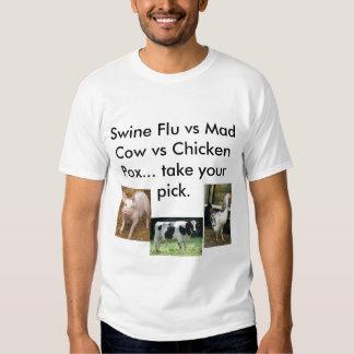 Swine Flu vs Mad Cow vs Chicken Pox Shirts