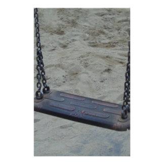 Swing at Playground, Summer Sand Beach Kids Play Stationery Design
