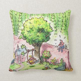 Swing Boy throw cushion large green Throw Pillow