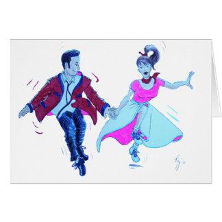swing dancer pink poodle skirt saddle shoes cards