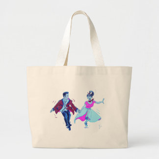 swing dancer pink poodle skirt saddle shoes large tote bag