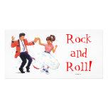 swing dancer poodle skirt & saddle shoes photo cards