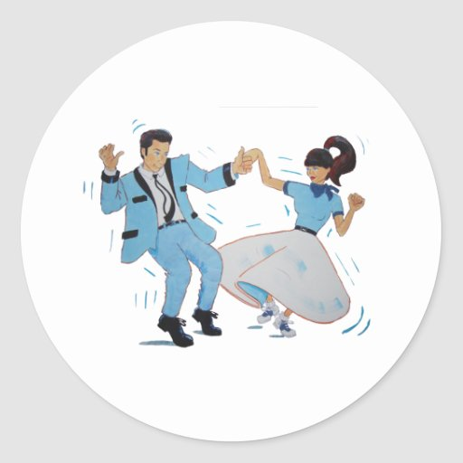 swing dancer with poodle skirt and saddle shoes round sticker
